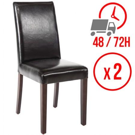 Chaise similicuir / Dossier haut - noir (LOT DE 2)