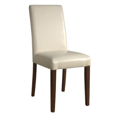 Chaise similicuir / Dossier haut - crème (LOT DE 2)