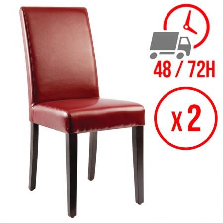 Chaise similicuir / Dossier haut - rouge (LOT DE 2)