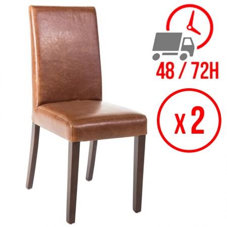 Chaise similicuir / Dossier haut - marron patiné (LOT DE 2)