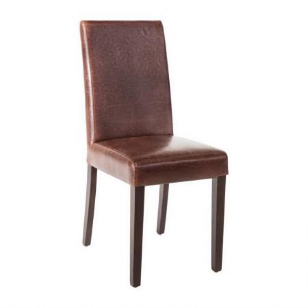 Chaise similicuir / Dossier haut - marron foncé patiné (LOT DE 2)