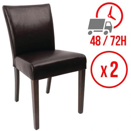 Chaise contemporaine / similicuir - marron foncé (LOT DE 2)
