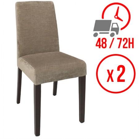 Chaise Tissu / Beige (LOT DE 2)