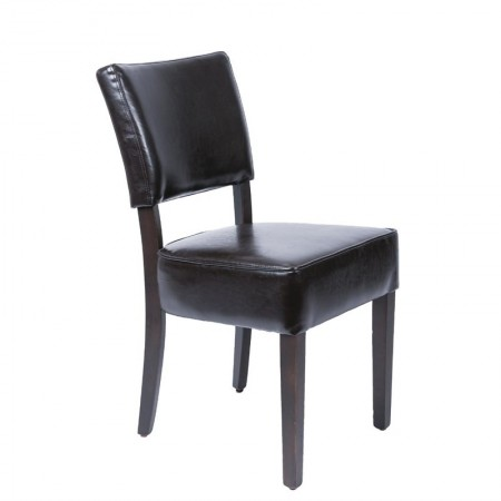 Chaise rembourrée / similicuir - marron foncé (LOT DE 2)