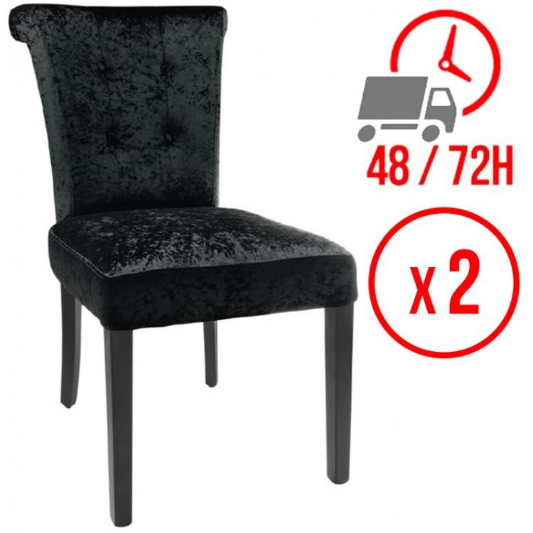 Chaise en velours / Noir (LOT DE 2)