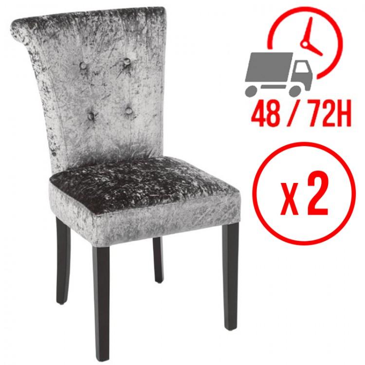 Chaise en velours / Gris olive (LOT DE 2)