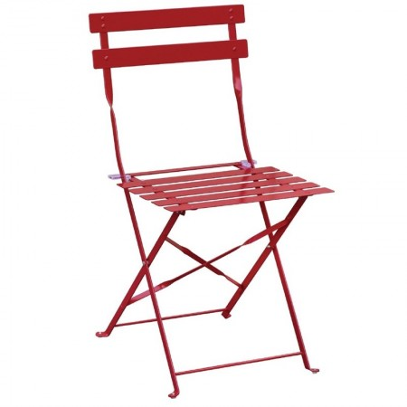 Chaise pliante / Acier rouge (LOT DE 2)