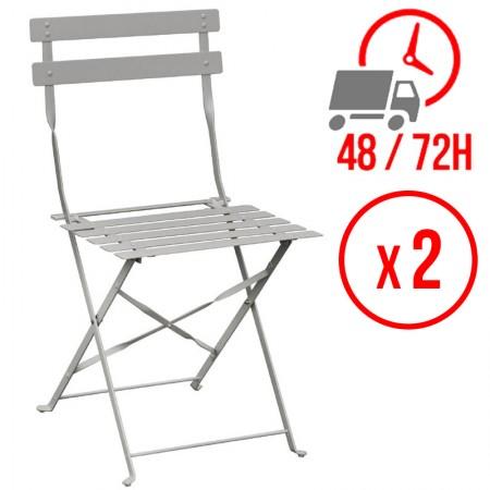 Chaise pliante / Acier gris (LOT DE 2)