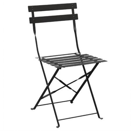 Chaise pliante / Acier noir (LOT DE 2)