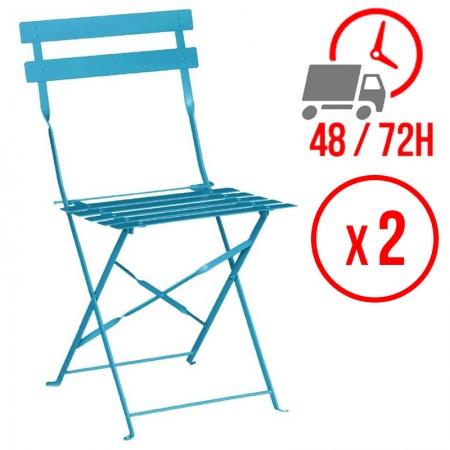 Chaise pliante / Acier bleu turquoise (LOT DE 2)